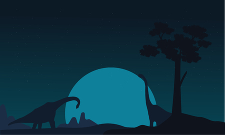 gigantic: Silhouette of two brachiosaurus landscape vector illustration