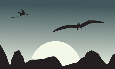 pterodactyl: Silhouette of pterodactyl on sky scenery vector illustration