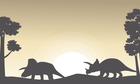 ascendant: Silhouette of two triceratops on the hill scenery illustration Illustration
