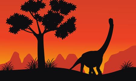 Silhouette of brachiosaurus on the hill scenery illustration