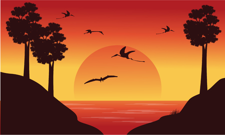 pterodactyl: On the river dinosaur pterodactyl scenery illustration