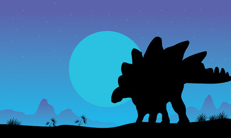Silhouette of stegosaurus at the night scenery illustration