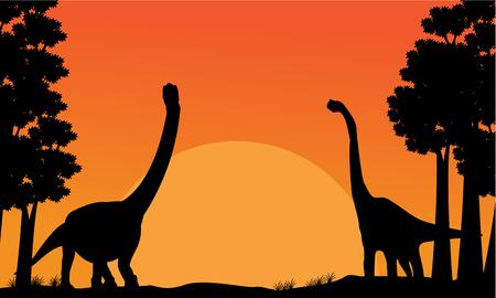 monstrous: Silhouette of dinosaur brachiosaurus with orange sky scenery illustration