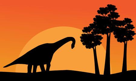 Beautiful scenery dinosaur brachiosaurus of silhouettes illustration