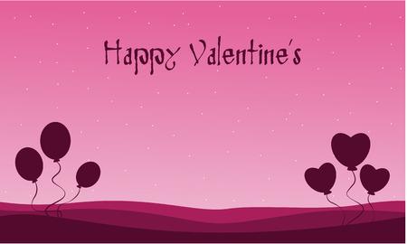days: Balloon landscape Valentine Days backgrounds vector illustration