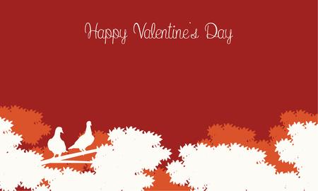 Happy Valentine Day card landscape illustration vector