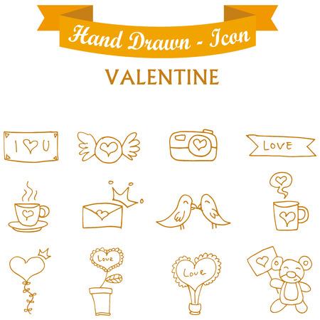 days: Collection orange icon valentine days vector art