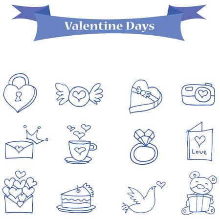 days: Blue icon valentine days collection vector illustration