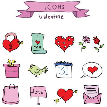 days: Set element valentine days vector art