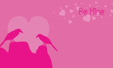 Two bird on pink backgrounds valentine day vector art
