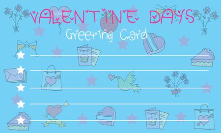 On blue background greeting card valentine vector illustration Illustration