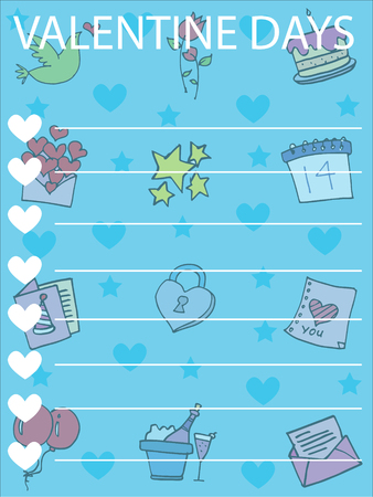 Collection greeting card valentine day vector illustration