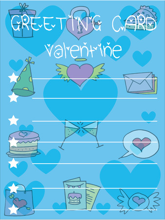 Style greeting card valentine collection vector art
