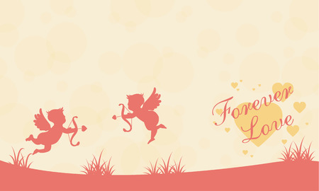 On hill with cupid Valentine landscape vector illustration