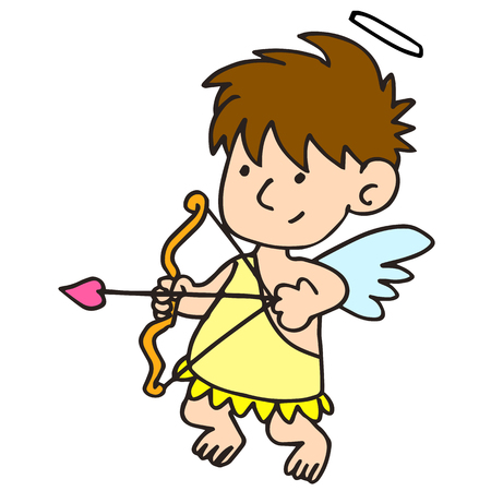 Funny little cupid aiming at someone vector art
