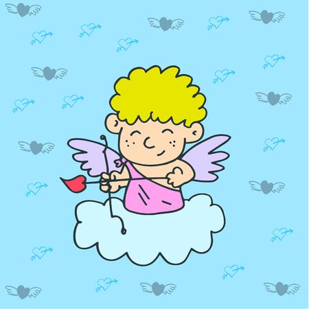 amur: Illustration of cupid on sky valentine days