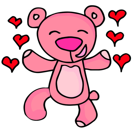 days: Happy bear character valentine days collection stock Illustration