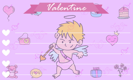 greeting card background: Greeting card cupid background collection vector illustration