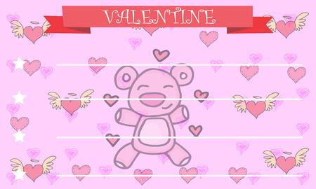 greeting card background: Bear background greeting card valentine vector illustration