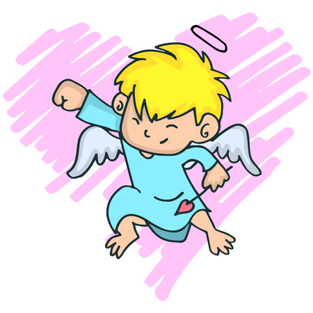 Cartoon image of cute little cupid with yellow hair vector illustration