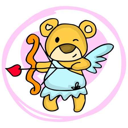 days: Cupid bear cartoon valentine days vector illustration