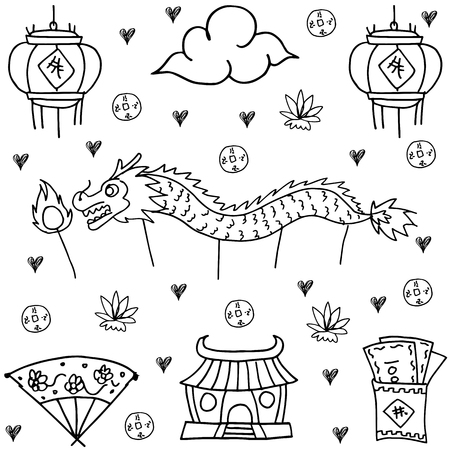 Hand draw of Chinese New Year doodles Stock Vector - 68546976