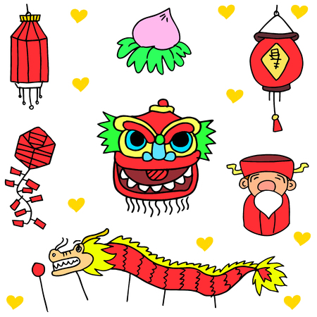chinese new year dragon: Doodle of Chinese celebration vector