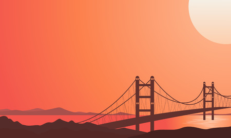 Illustration of bridge on river beautiful landscape background vector