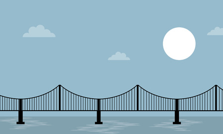Bridge on sea background landscape vector illustration Ilustração
