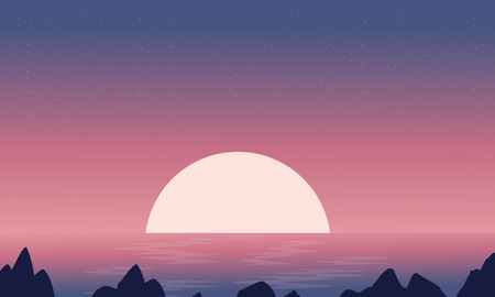 sunset beach: Silhouette of seaside at night landscape vector collection Illustration