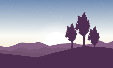 Beautiful landscape with tree on hill vector illustration