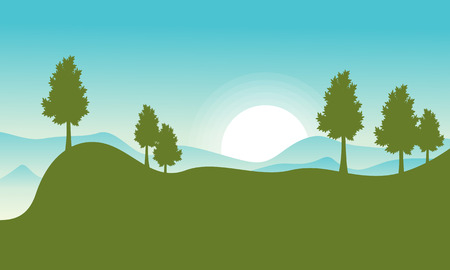 Vector flat of hill with sun landscape collection
