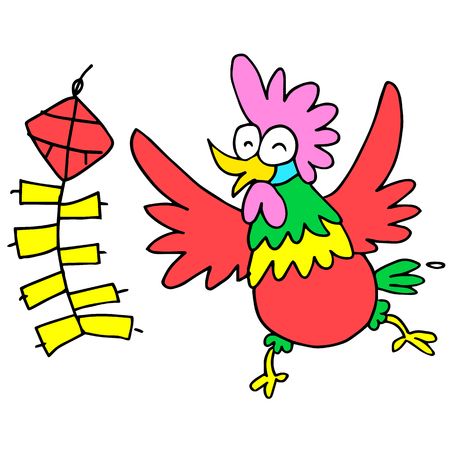 Happy rooster with firecracker character Chinese illustration