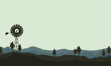 windmills: silhouette windmills on the hill landscape vector