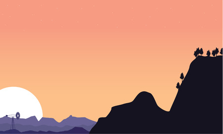 dry grass: Silhouette of cliff and windmill scenery vector art
