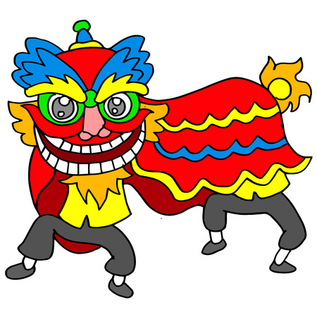 lion dance: Vector illustration of lion dance Chinese