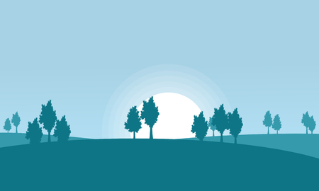 dry grass: Silhouette of hill and tree scenery vector art