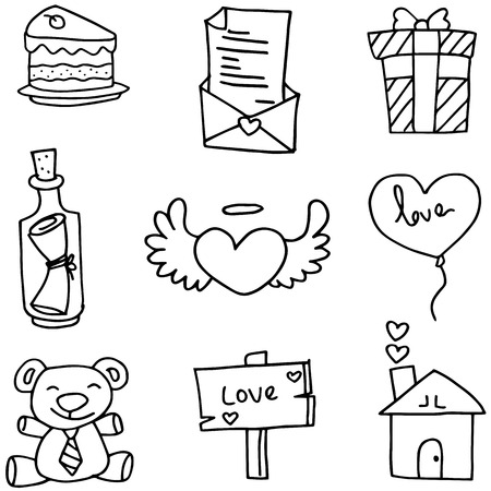 romance: Illustration of object love with hand draw vector art