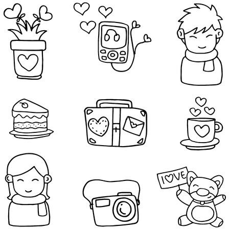 romance: Illustartion of romance theme doodles
