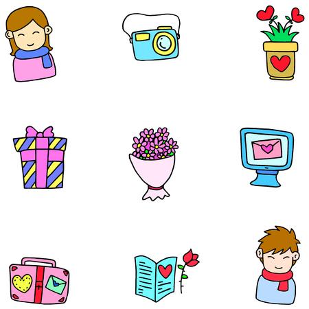 romance: Illustartion vector of love romance doodles collection