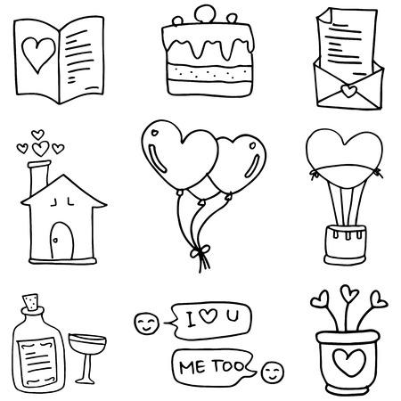 romance: Doodle of love romance vector Illustration