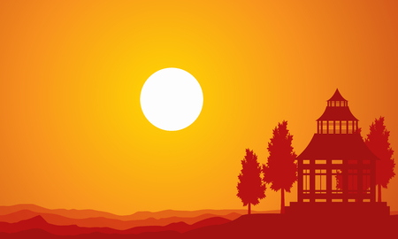Silhouette of pavilion on the sunset scenery Illustration