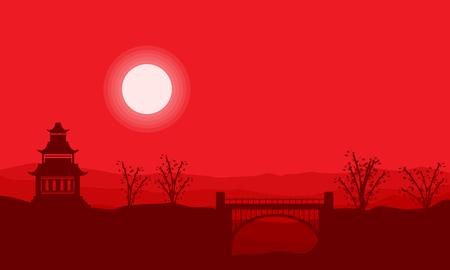 pavilion: Landscape silhouette of pavilion with bridge vector art Illustration