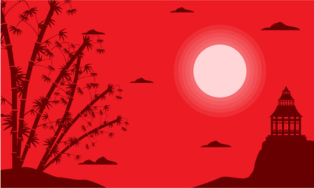 pavilion: Bamboo and pavilion silhouette of scenery vector illustration Illustration