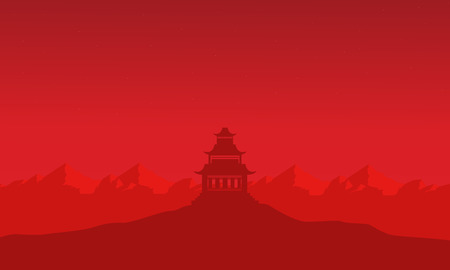 Silhouette of pavilion on mountain backgrounds landscape Illustration