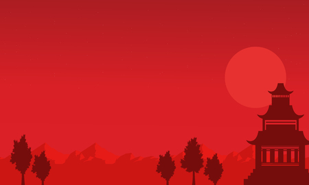 pavilion: Silhouette of pavilion on the mountain scenery vector Illustration