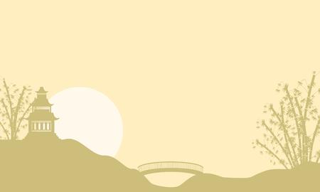 Landscape pavilion at sunrise of silhouettes vector art