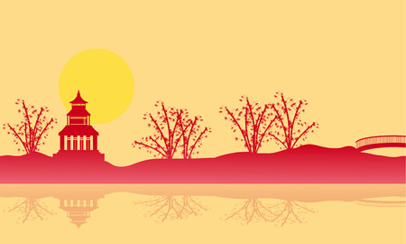 pavilion: Silhouette of pavilion and reflection scenery vector art Illustration