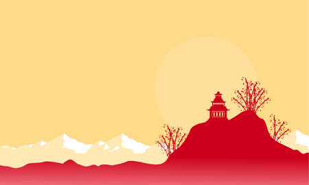 pavilion: Pavilion on hill scenery with mountain backgrounds vector Illustration