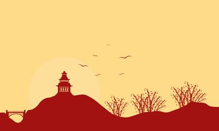 pavilion: Landscape of pavilion with bird at sunset vector art